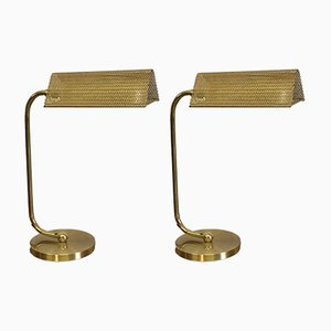 Vintage Brass Table Lamps, 1980s, Set of 2