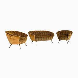 Vintage Velvet Sofa and Armchairs Set by Ico Luisa Parisi, 1950s, Set of 3