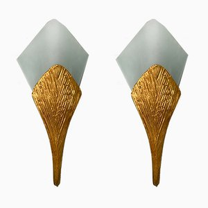 Vintage French Bronze Model Nefertiti Sconces from Maison Charles, 1970s, Set of 2