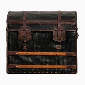 Baúl de viaje antiguo pequeño de cuero