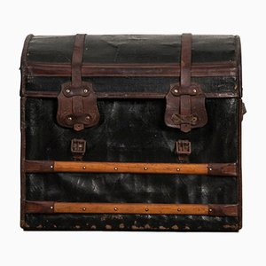Small Antique Leather Traveling Trunk