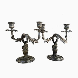 Antique Silver Candleholders by Christofle, Set of 2