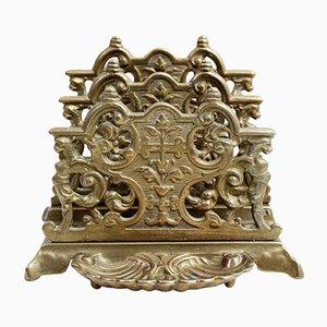 Antiker Briefhalter aus Bronze im Jugendstil