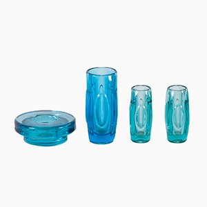 Bohemian Glass Vases by Rudolf Schrötter, for Sklo Union, 1950s, Set of 4