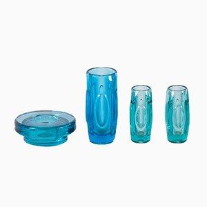 Vases en Verre de Bohême par Rudolf Schrötter, pour Sklo Union, 1950s, Set de 4