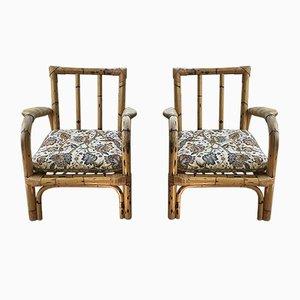 Französische Sessel aus Bambus, 1950er, 2er Set