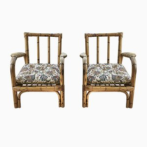 French Bamboo Lounge Chairs, 1950s, Set of 2