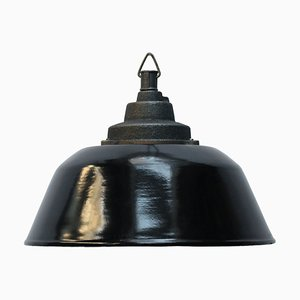 Lampe à Suspension Industrielle en Émail Noir et Fonte, 1950s