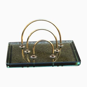 Brass & Crystal Post Holder from Fontana Arte, 1960s