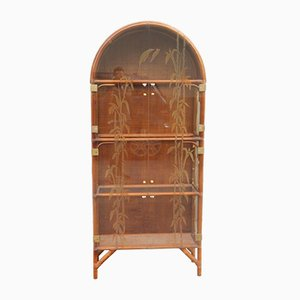 Italian Bamboo & Glass Cabinet, 1960s