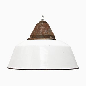 Industrial White Enamel & Cast Iron Pendant Lamp, 1950s