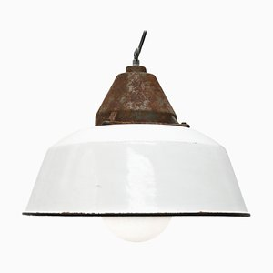 Industrial White Enamel, Cast Iron & Frosted Glass Pendant Lamp, 1950s