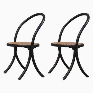 Sillas auxiliares curvadas de madera curvada y lacada, años 50. Juego de 2
