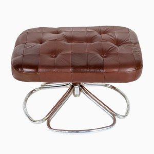 Chrome and Patchwork Leather Ottoman, 1960s