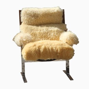 Sheepskin & Leather Armchair, 1970s