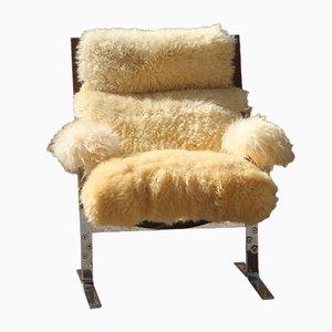 Sheepskin & Leather Armchair, 1970s