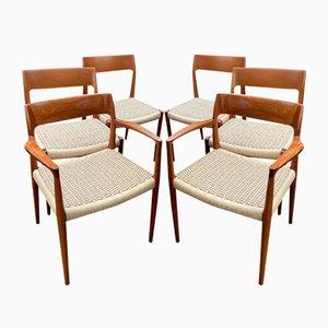 Modell 57 & 77 Esszimmerstühle aus Teak von Niels Otto Møller für J.L. Møllers, 1960er, 6er Set