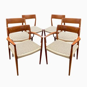 Teak model 57 & 77 Dining Chairs by Niels Otto Møller for J.L. Møllers, 1960s, Set of 6