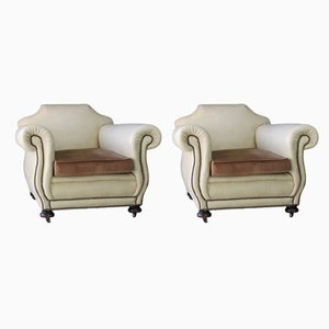 Antique Club Chairs, Set of 2