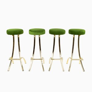 Mid-Century Spanish Green Velvet and Brass Stools, 1970s, Set of 4