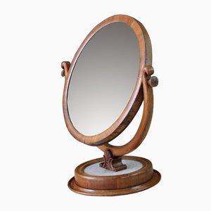 Miroir de Courtoisie Antique en Marbre et Acajou