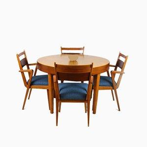 Esszimmerstühle aus Eschen- & Nussholz mit ausziehbarem Tisch von Jitona Sobeslav, 1950er, 5er Set