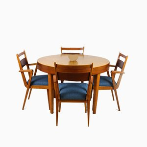Juego de sillas de comedor y mesa extensible de fresno y nogal de Jitona Sobeslav, años 50. Juego de 5