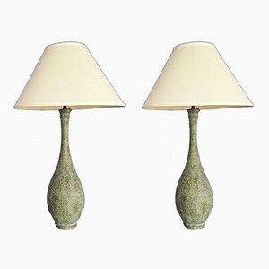 Lampade da tavolo vintage in bronzo e ottone, set di 2