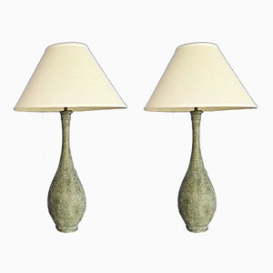 Vintage Bronze & Brass Table Lamps, Set of 2