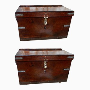 Antique Military Leather Mule Trunks, Set of 2