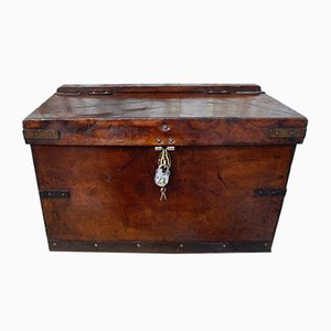Antique Military Leather Mule Trunk