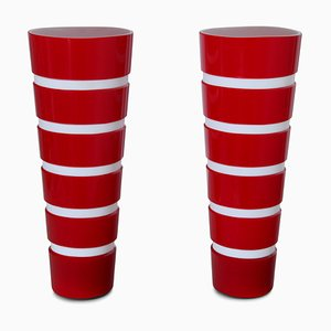 Vase Vintage en Verre Rouge et Blanc