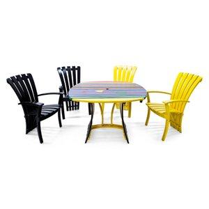 Chaises de Jardin et Table Vintage, Italie, Set de 5
