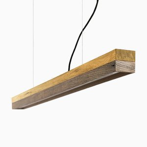 Lámpara colgante [C1o] de madera de roble y madera antigua de GANTlights