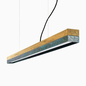[C1o]Oak Wood & Oxidised Copper Pendant Light from GANTlights