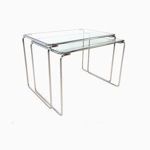 Tavolini ad incastro in vetro, anni '60