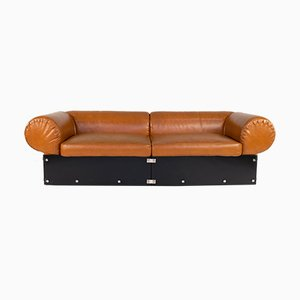 Vintage Italian Faux Leather and Brown Methacrylate Sofa, 1970s