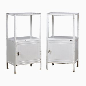 German White Steel Nightstands, 1950s, Set of 2