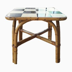 Rattan & Tile Side Table, 1950s