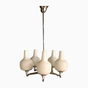 Lámpara de araña de vidrio opalino de 5 brazos de Stilnovo, años 50