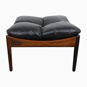 Rosewood and Leather Stool by Kristian Solmer Vedel for Søren Wiladsen, 1960s