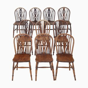 Antique Ash, Elm, and Beech Dining Chairs, Set of 10