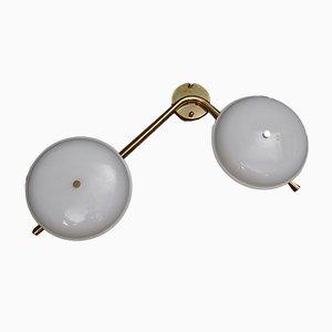 Applique in vetro di Murano bianco e ottone, anni '80, set di 2