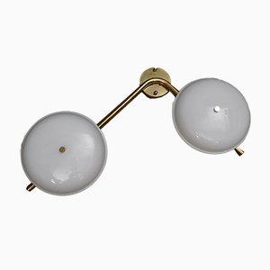 White Murano Glass and Brass Sconces, 1980s, Set of 2