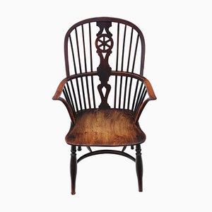 Antiker Windsor Esszimmerstuhl aus Eibe & Ulmenholz