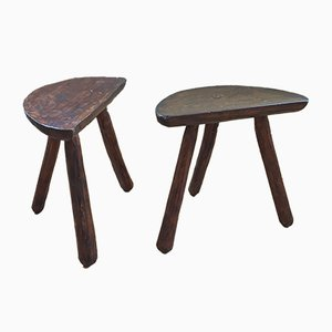 Handmade Tripod Stools, 1950s, Set of 2