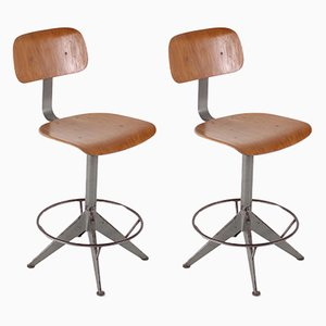 Industrielle Vintage Hocker, 1950er, 2er Set