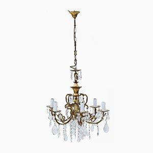 Lámpara de araña Ormolu grande de latón y cristal con seis brazos, años 60