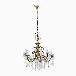 Large 6-Armed Ormolu Brass and Crystal Chandelier, 1960s