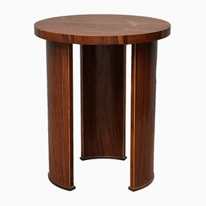 Round Italian Walnut Side Table, 1950s